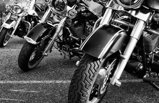 Harley-Davidson Motorcycles Cecina, Livorno, Tuscany, Italy - May/24/2019: Harley- Davidson owners meeting in Tuscany, Italy. The Motorcycles are parked on the road waiting for parade. three wheel motorcycle stock pictures, royalty-free photos & images