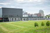 Milwaukee, USA - September 11, 2013: The Harley-Davidson Museum in Milwaukee, Wisconsin. Owned by the motorcycle manufacturer, the museum opened in 2008 to celebrate and showcase more than a century of Harley-Davidson motorcycle history.