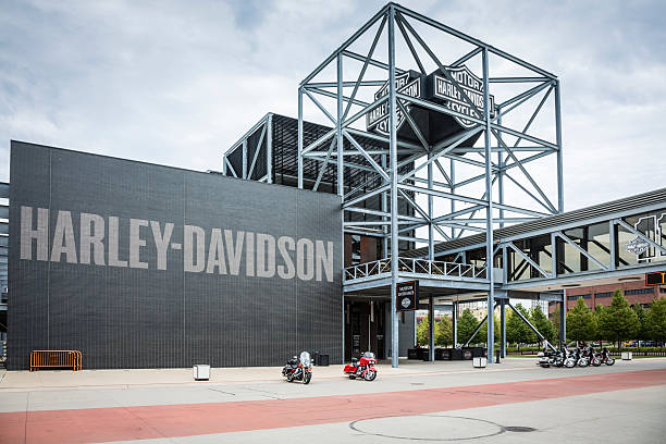 Harley-Davidson Museum, Milwaukee Milwaukee, USA - September 11, 2013: The Harley-Davidson Museum in Milwaukee, Wisconsin. Owned by the motorcycle manufacturer, the museum opened in 2008 to celebrate and showcase more than a century of Harley-Davidson motorcycle history. milwaukee wisconsin stock pictures, royalty-free photos & images