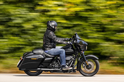 Zagreb, Croatia - September 29, 2018: Harley-Davidson Street Glide Special driving on the road in Zagreb. Street Glide is the luxury touring motorcycle of the renowned American brand.