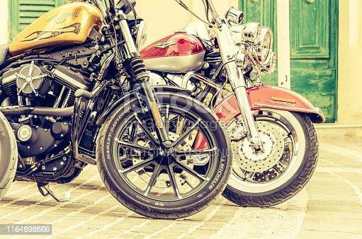 Marsaxlokk, Malta; April 14,2019: Two Harley Davidson motorcycles standing in the street of old town
