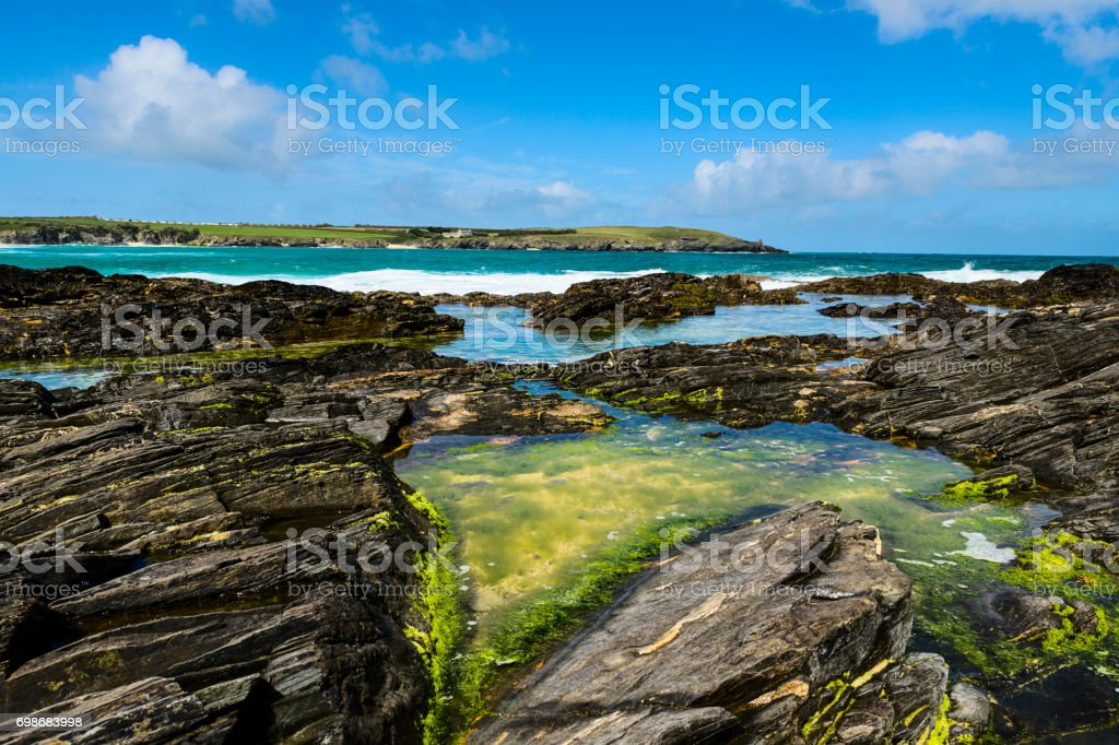 Harlyn Bay, West Coast of Cornwall near Padstow, UK stock photo