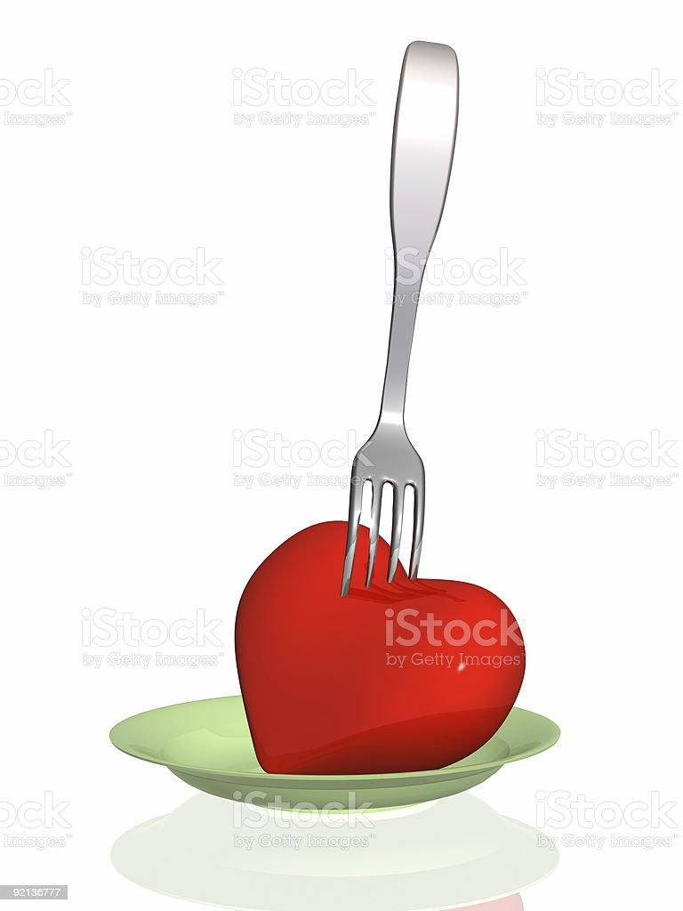 Harmful food - threat to health of heart royalty-free stock photo