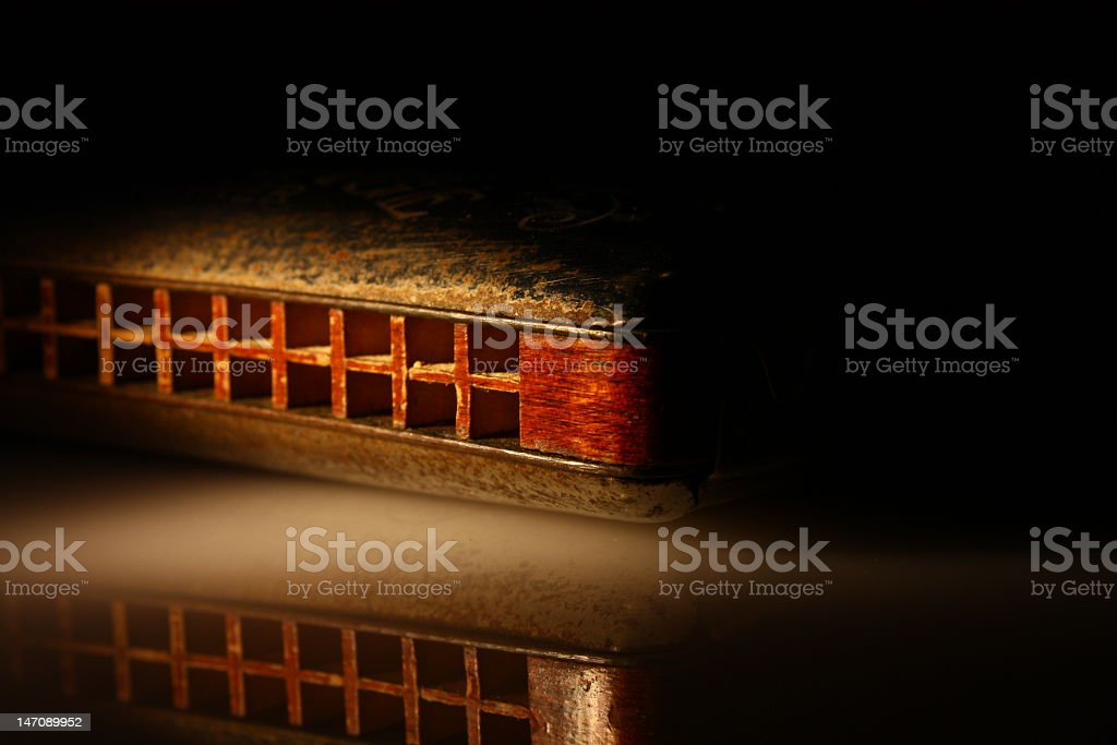 A harmonica in a dark room with a little light on it  stock photo