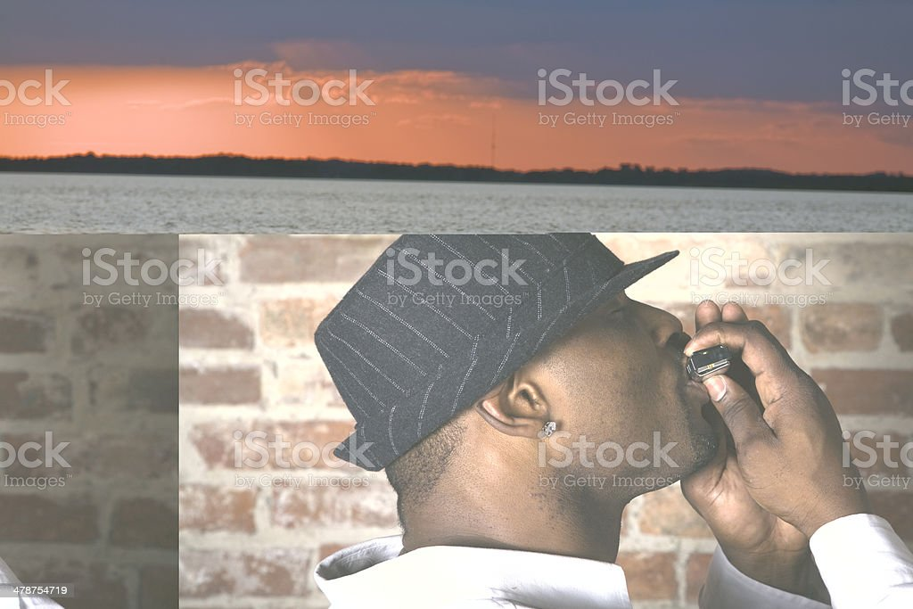 Harmonica Man's blues stock photo