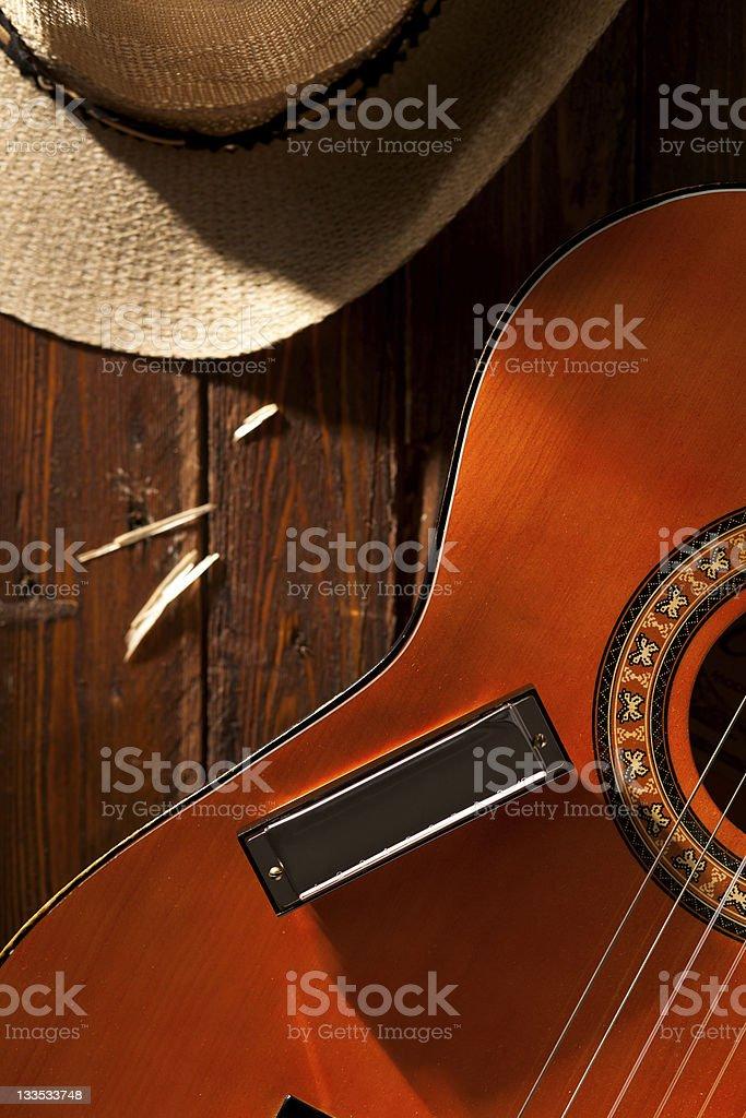 Harmonica on Guitar royalty-free stock photo