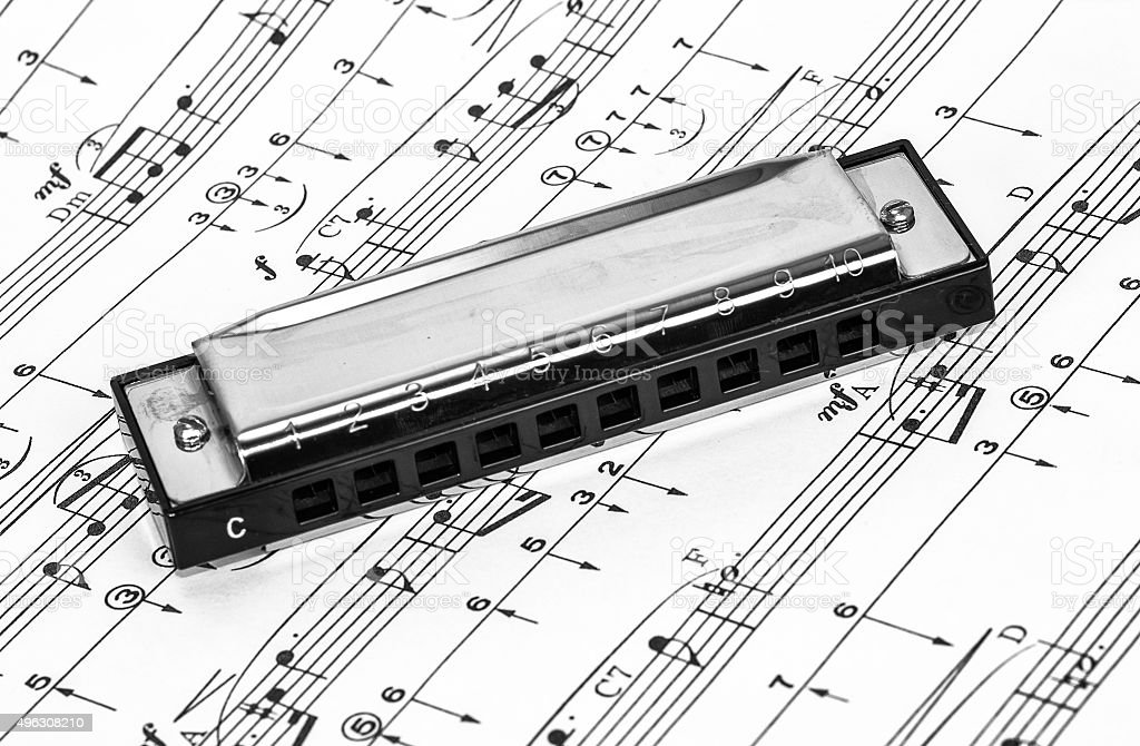 Harmonica on Sheet Music stock photo