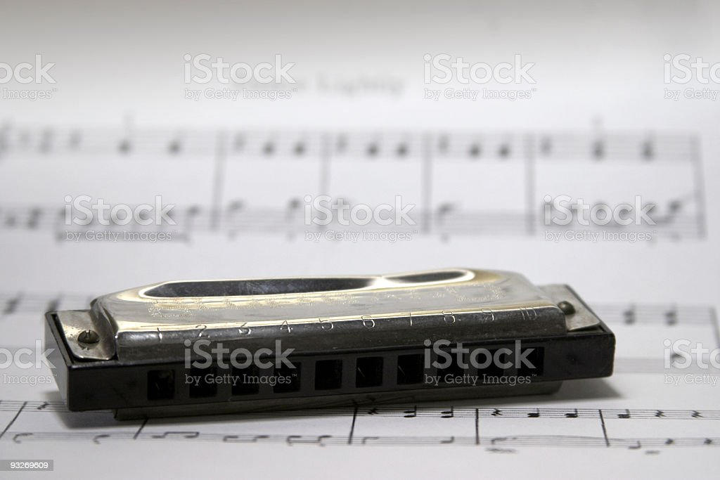 Harmonica on Sheet Music royalty-free stock photo