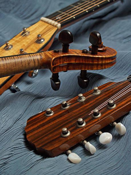 Harmonious Trio of Instruments - Mandolin, Violin, Guitar stock photo