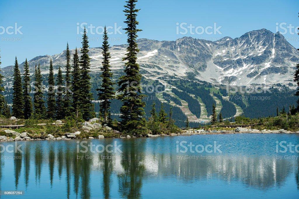 Harmony Lake on Whistler Mountain in summer stock photo