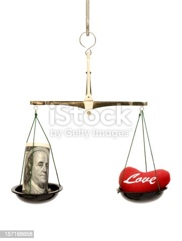 A bowl with heart is in balance with a bowl with money.