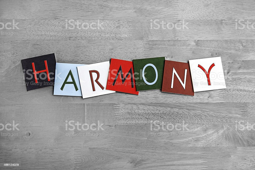 Harmony, sign series for music, singing, choir and bands stock photo