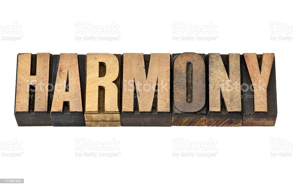 harmony word in wood type royalty-free stock photo