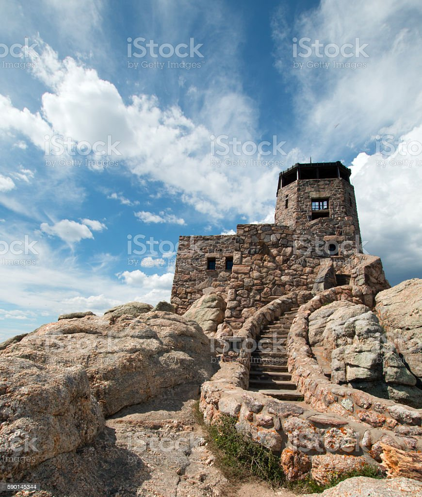 Harney Peak Fire Lookout Tower in Black Hills SD stock photo