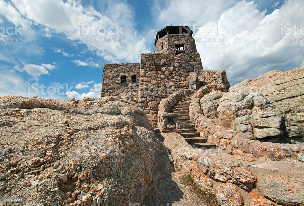 Harney Peak Fire Lookout Tower in Black Hills USA stock photo