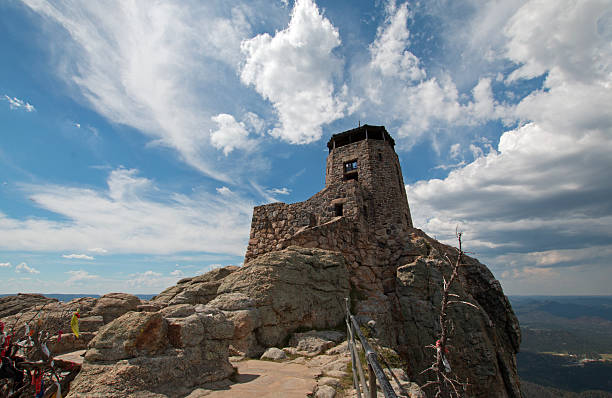 Harney Peak Fire Lookout Tower in Custer State Park America stock photo