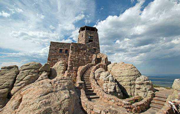 Harney Peak Fire Lookout Tower in the Black Hills stock photo