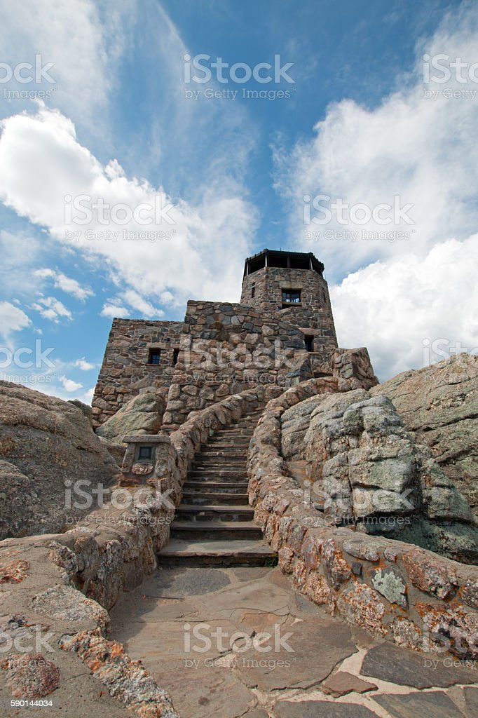 Harney Peak Fire Lookout Tower stone staircase in Custer SP stock photo