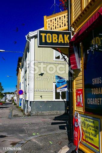 Harnosand, Sweden September 5, 2019 A classic retro street corner tobacco store.