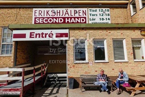 Harnosand, Sweden September 5, 2019 The Erikshjalpen second-hand store.