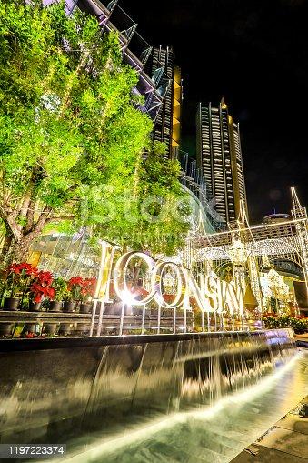 istock haroen Nakhon Road,Khlong San,Bangkok,Thailand on December 23,2019:ICONSIAM BANGKOK ILLUMINATION at River Park to celebrate Christmas and New Year Festival. 1197223374