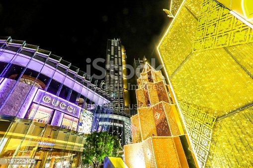 istock haroen Nakhon Road,Khlong San,Bangkok,Thailand on December 23,2019:ICONSIAM BANGKOK ILLUMINATION at River Park to celebrate Christmas and New Year Festival. 1197223408