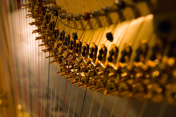 harp detail - harpist stock photos and pictures