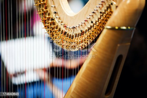 Harp player in orchestra.