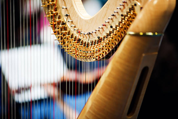 harp in orchestra - harpist stock photos and pictures