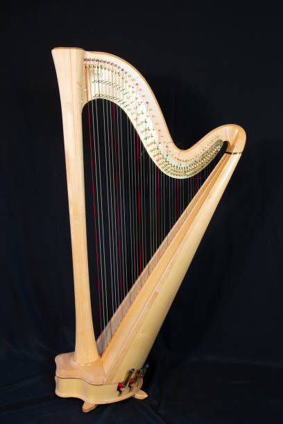 Harp musical instrument, isolated on a black background, vertically with copy space Harp Isolated on black background, ARPA stock pictures, royalty-free photos & images
