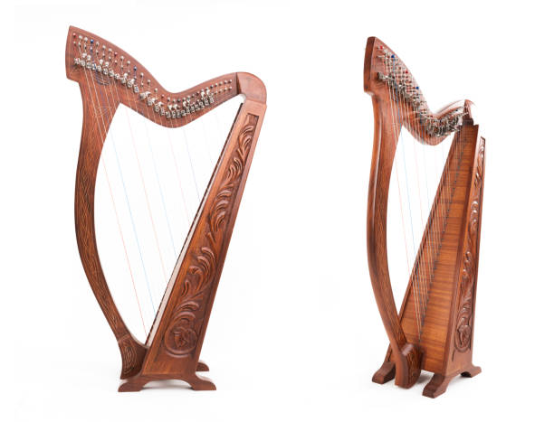 harp musical instrument - harpist stock photos and pictures