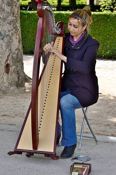 Arpa Madrid, Spain - April, 27, 2014: Streetmusician interpreting various melodies on the harp in Madrid ARPA stock pictures, royalty-free photos & images