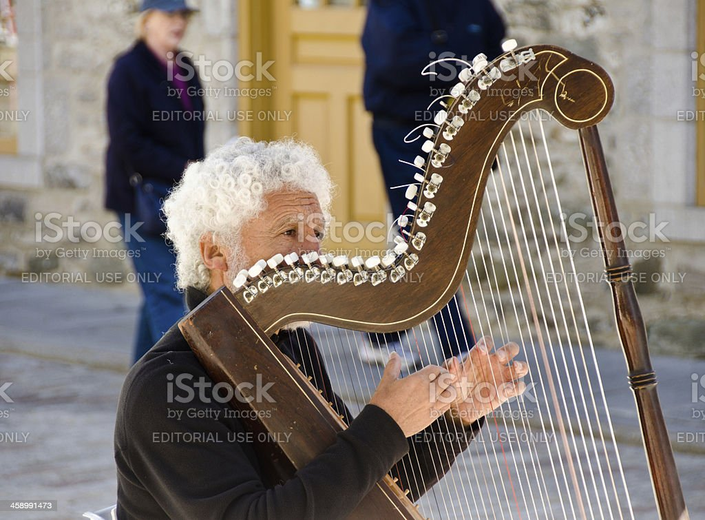 Harp Player in Quebec City. royalty-free stock photo