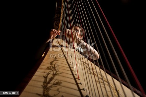 Detail of harp from lower side with wide angle, selective focus