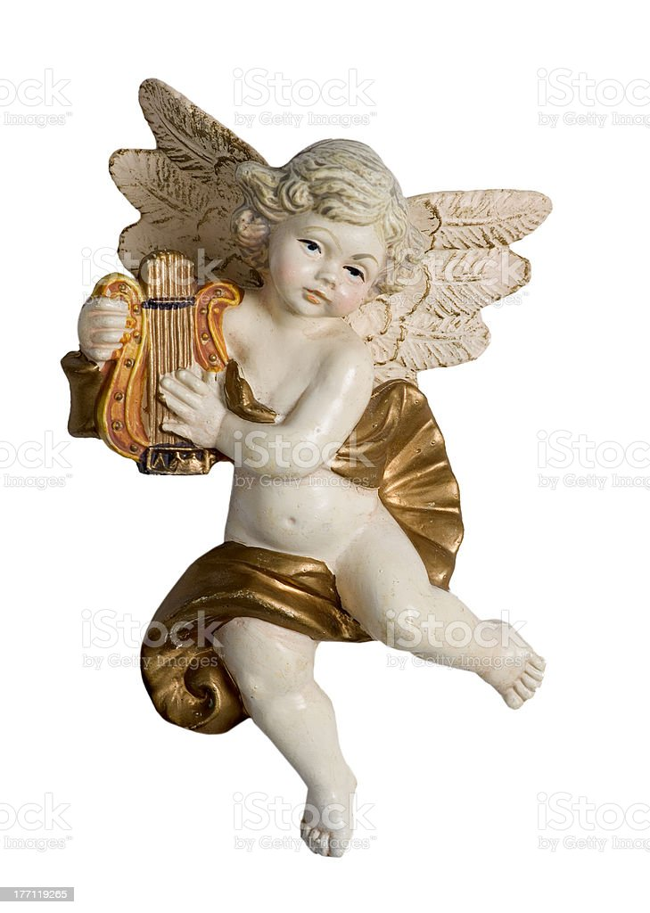 harp playing putto stock photo