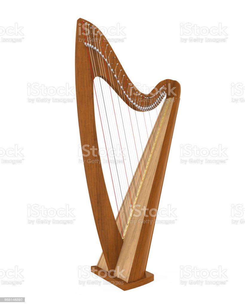 Harp Stringed Musical Instrument Isolated stock photo
