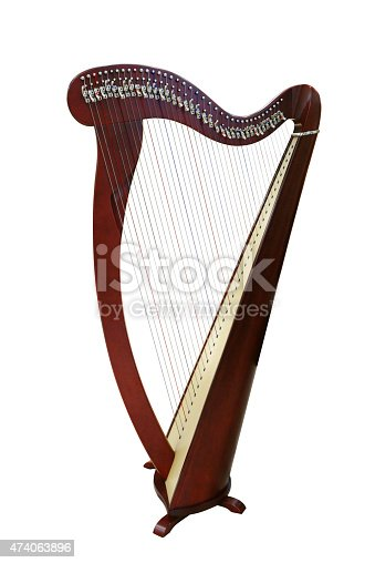 Harp musical instrument isolated on white background.