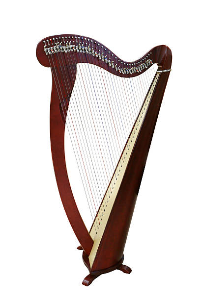 harp stringed musical instrument - harpist stock photos and pictures
