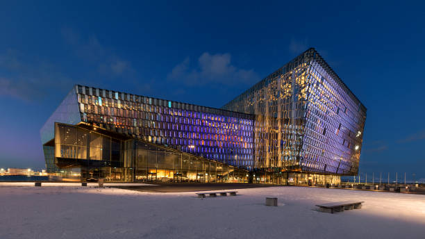 Harpa Concert Hall during winter in Reykjavik stock photo
