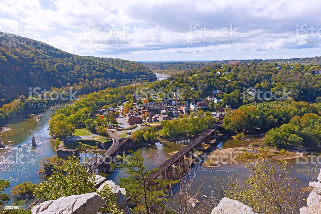 Harpers Ferry historic town and National Park as seen from a high mountain point. stock photo