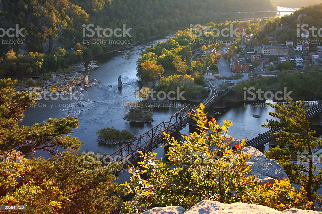 Harpers Ferry historic town says farewell to the sun stock photo