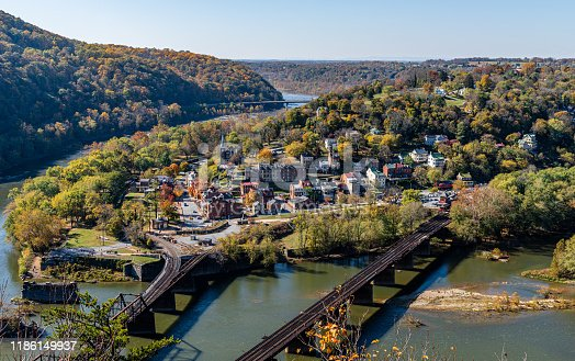 Harpers Ferry National Historic Park as seen from Maryland Heights on the banks of the Potomac and Shenandoah Rivers.