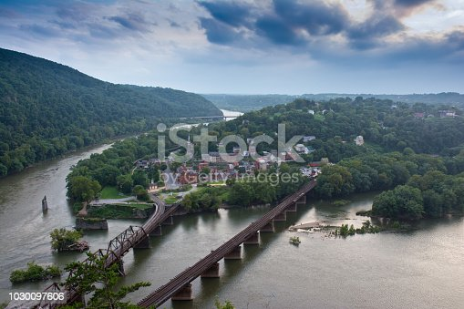 Historic Harpers Ferry from overlook during evening