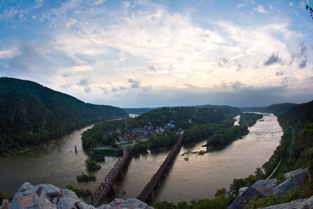 Harpers Ferry Overlook - Summer Sunset Historic Harpers Ferry from overlook during evening african american civil war memorial stock pictures, royalty-free photos & images