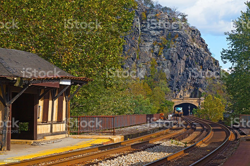 Harpers Ferry railroad tunnel in West Virginia, USA. stock photo
