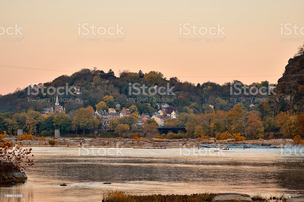 Harpers Ferry Riverfront At Dawn stock photo
