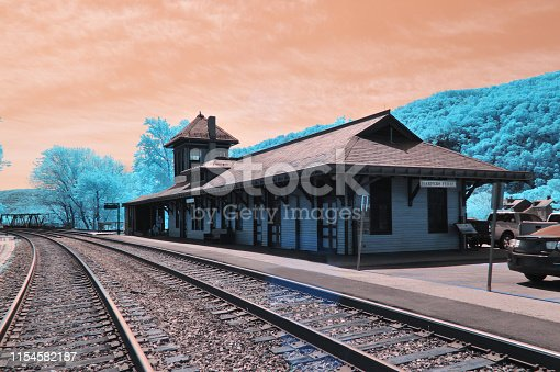 An infrared image of the Harpers Ferry train staton  and railroad tracks in the harpers ferry national historical park.