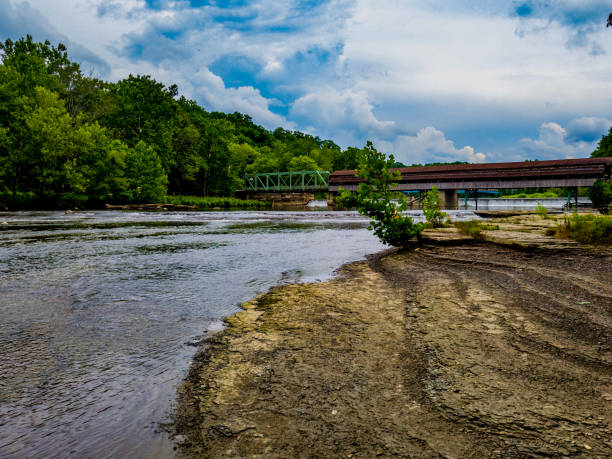 Harpersfield Covered Bridge, Ashtabula County, Ohio stock photo
