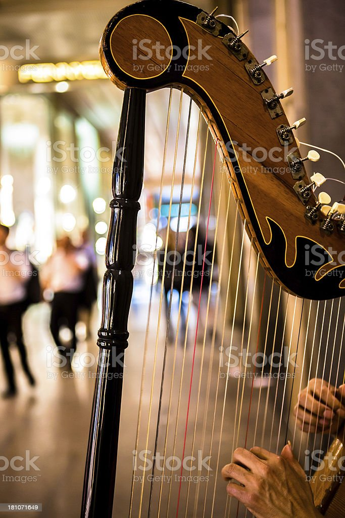 Harpist Close Up royalty-free stock photo