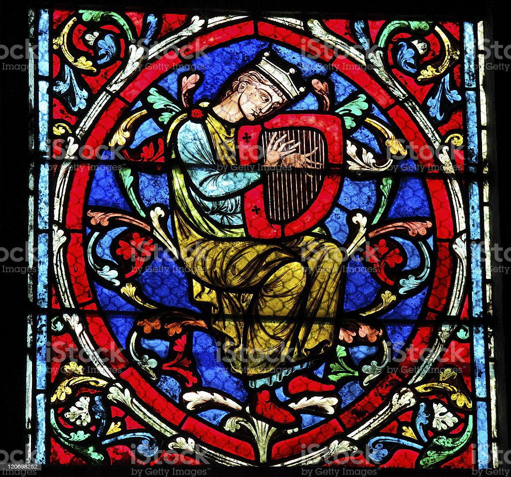 Harpist - Medieval Music stock photo